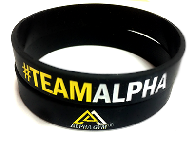 """#TEAMALPHA"" Motivationsarmband schwarz/gelb"