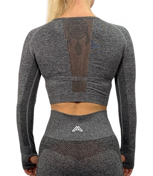 """PULSE"" Cropped Longsleeve grey"