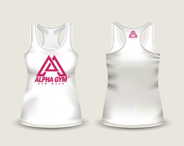 "ALPHA GYM ""BIG LOGO"" Stringer women white"