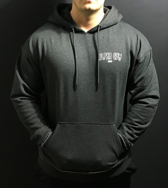 "ALPHA GYM ""MAGNUS"" Oversize Hoodie dark grey/white"
