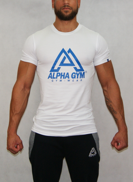 "ALPHA GYM ""BIG LOGO"" T-Shirt white/blue"
