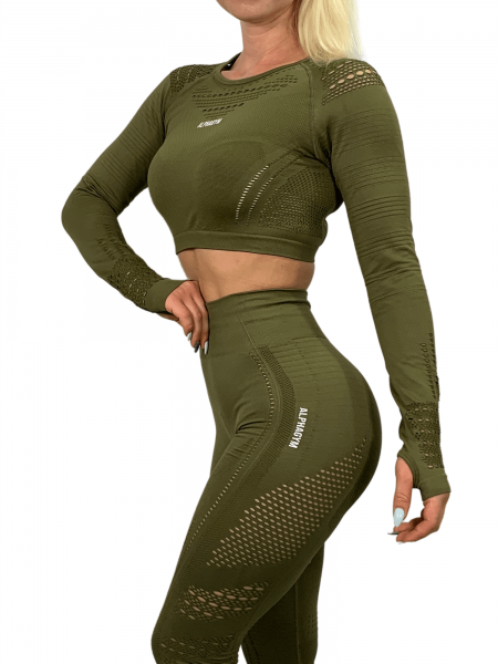 """RESISTANCE"" Cropped Longsleeve military green"