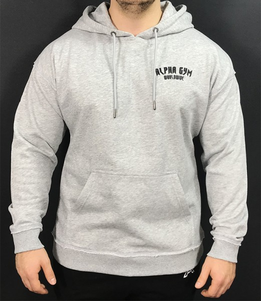 """WORLDWIDE"" Oversize Hoodie grey/black"