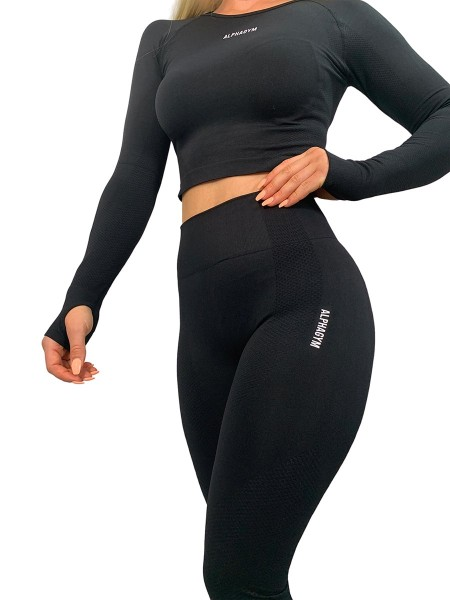 """LIMITLESS"" Seamless Longsleeve Cropped Top black"